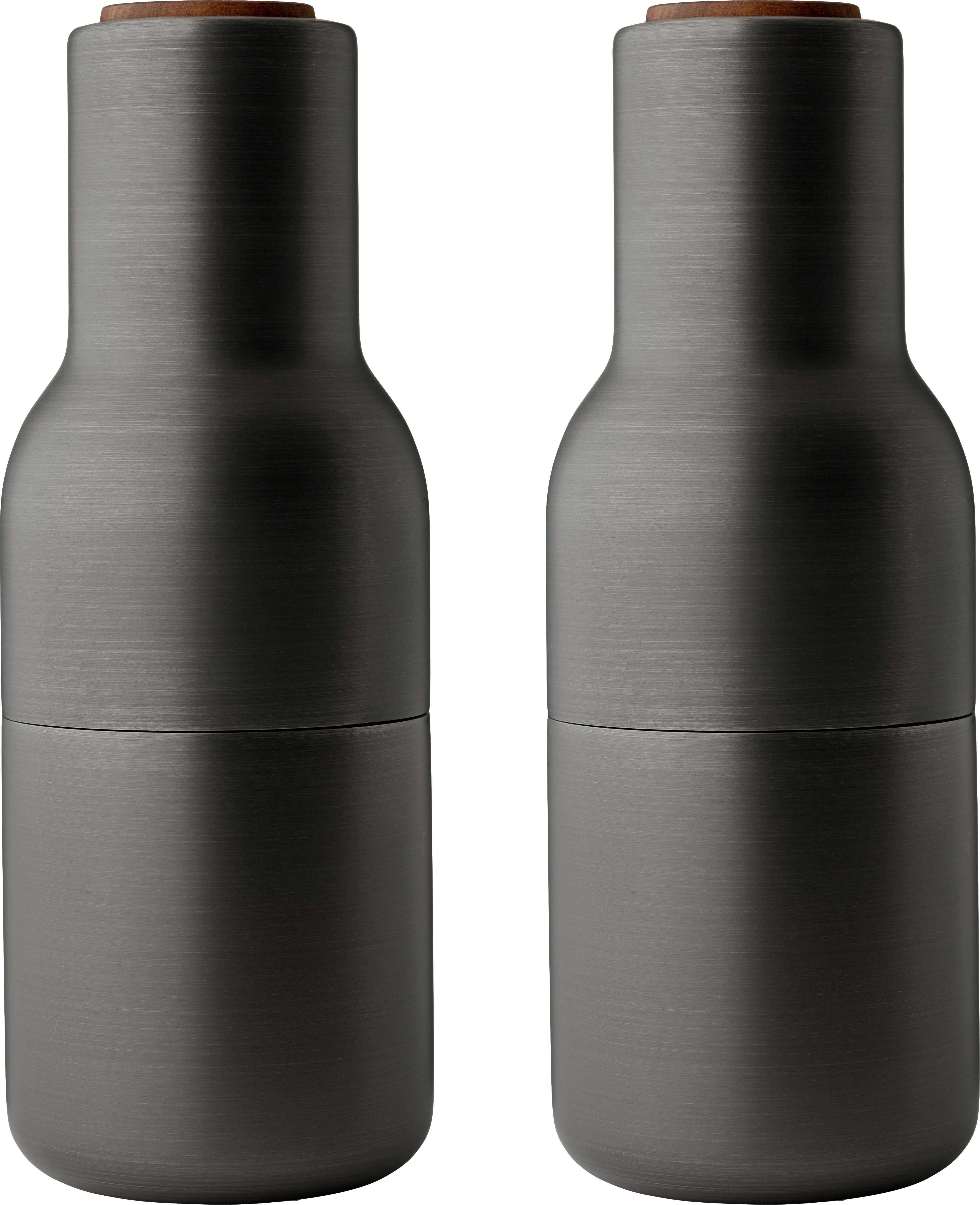 Peper- en zoutmolen Bottle Grinder, 2-delig, Frame: vermessingd en geborsteld, Deksel: walnoothout, Antraciet, Ø 8 x H 21 cm