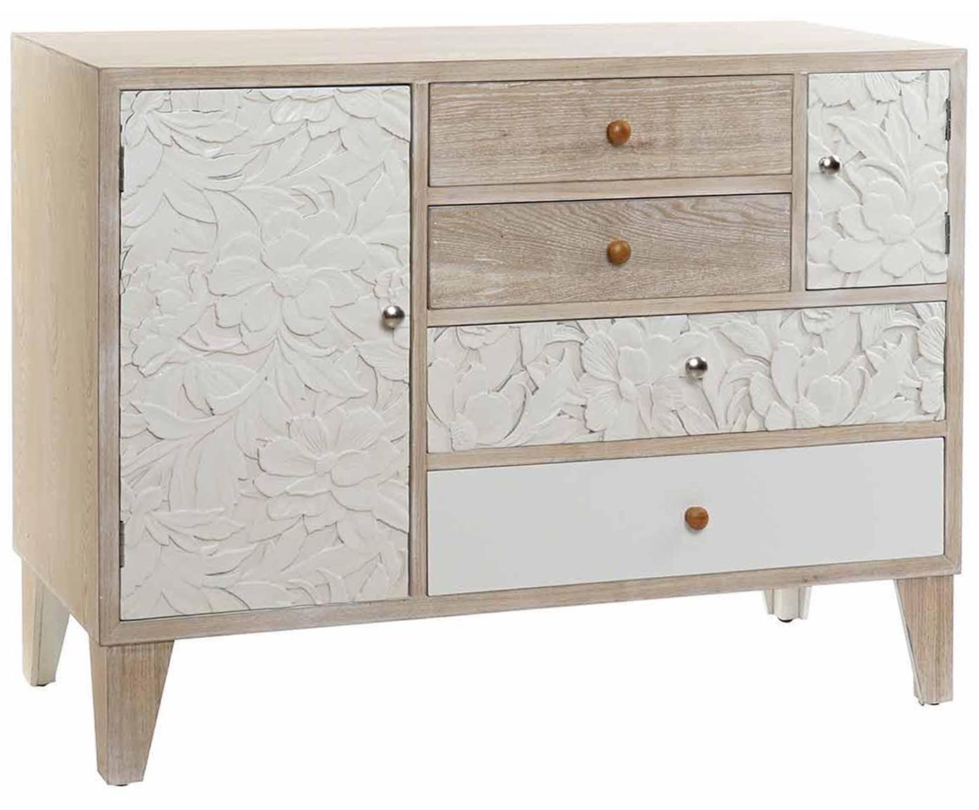 Cómoda de madera de abeto Caty, Patas: madera de abeto, Beige, An 110 x Al 80 cm
