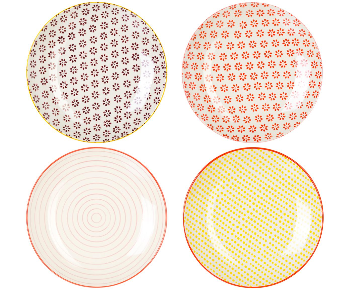 Frühstücksteller Susie mit kleinem Muster, 4er-Set, Steingut, Mehrfarbig, Ø 20 cm