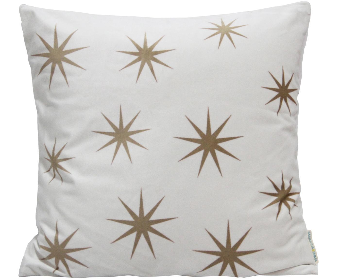Samt-Kissenhülle Stars mit goldenem Sternen Print, Polyestersamt, Weiß, Braun, 45 x 45 cm