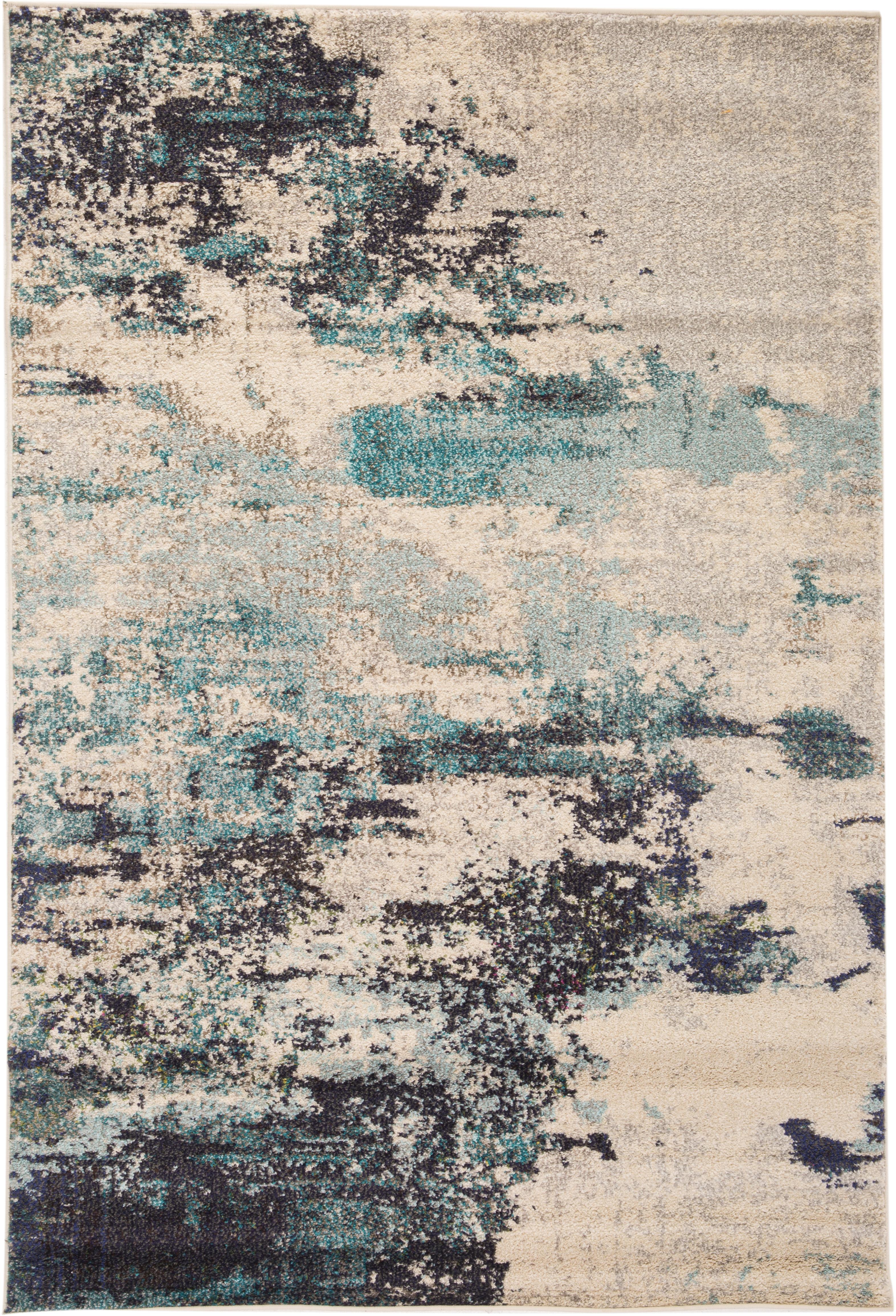 Design vloerkleed Celestial in blauw-crème kleur, Bovenzijde: 100% polypropyleen, Onderzijde: jute, Ivoorkleurig, blauwtinten, B 120 x L 180 cm (maat S)