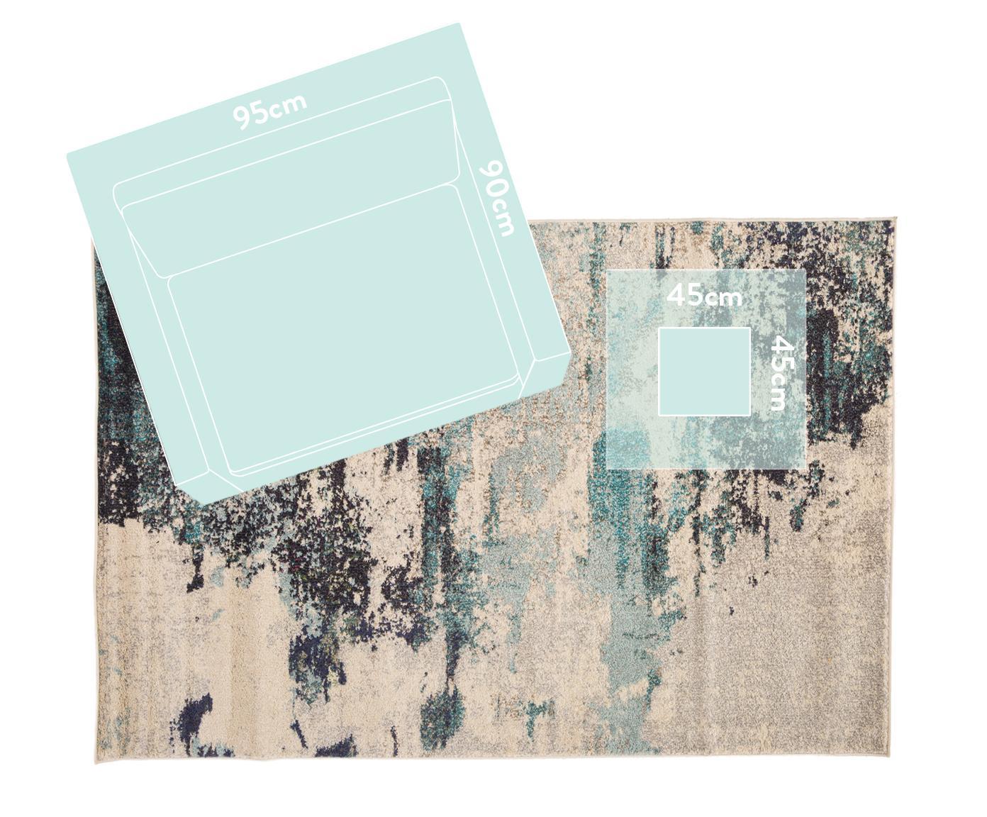Tapis design bleu ivoire Celestial, Blanc ivoire, tons bleus