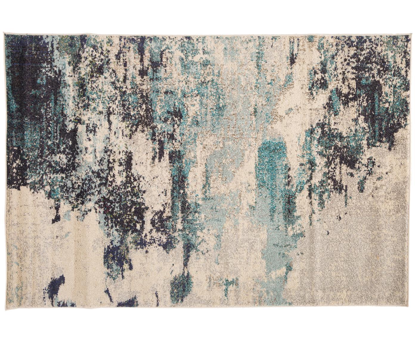 Tappeto fantasia a pelo corto blu-crema Celestial, Retro: juta, Avorio, tonalità blu, Larg. 120 x Lung. 180 cm (taglia S)