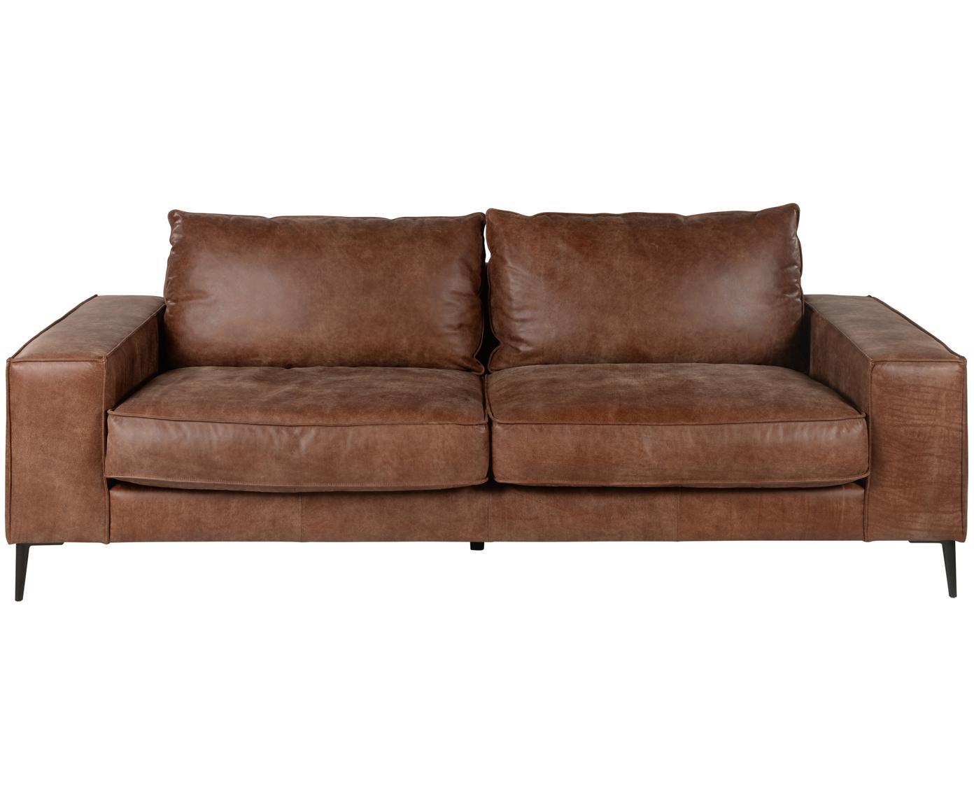 Leder-Sofa Brett (3-Sitzer), Bezug: Rindsleder, glatt, Gestell: Aluminium, lackiert, Leder Brauntöne, B 215 x T 90 cm