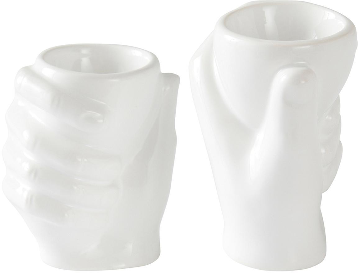Eierbecher-Set Imogen, 2-tlg., Porzellan, Weiß, 8 x 10 cm
