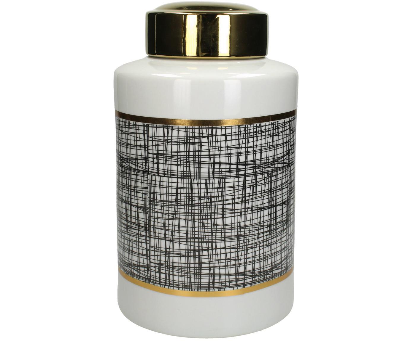 Opbergpot Lines, Porselein, Zwart, wit, goudkleurig, Ø 20 x H 40 cm