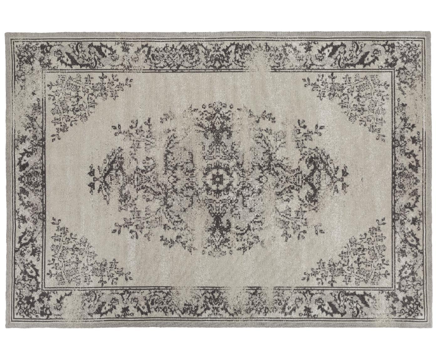 Chenille vloerkleed Touch, Bovenzijde: 95% katoen, 5% polyester, Onderzijde: 100% katoen, Grijs, 120 x 180 cm