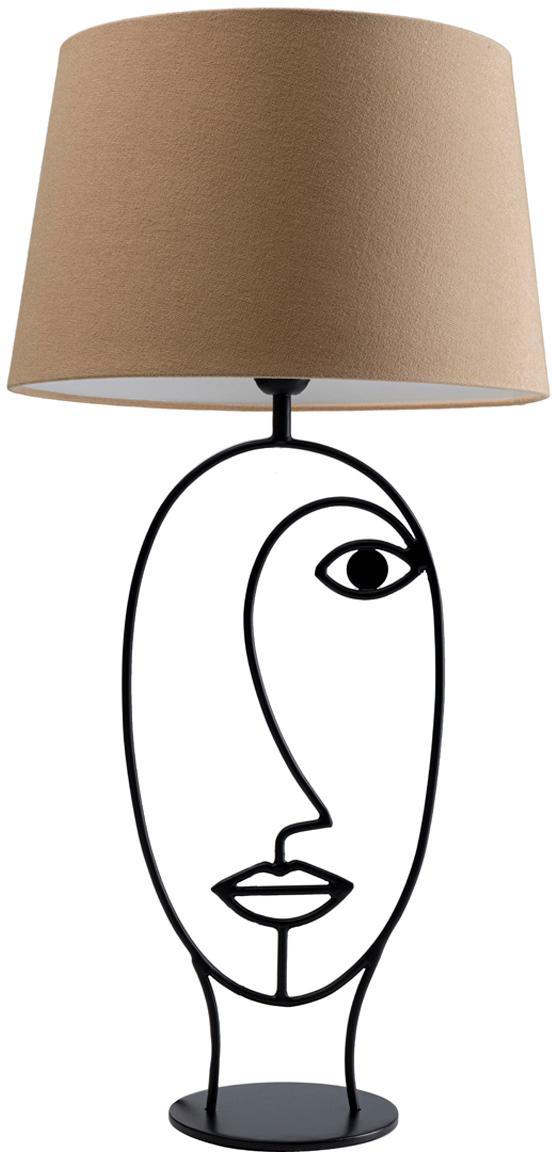 Grote tafellamp Face Nature, Frame: gepoedercoat staal, Lampvoet: gepoedercoat staal, Beige, zwart, 35 x 69 cm