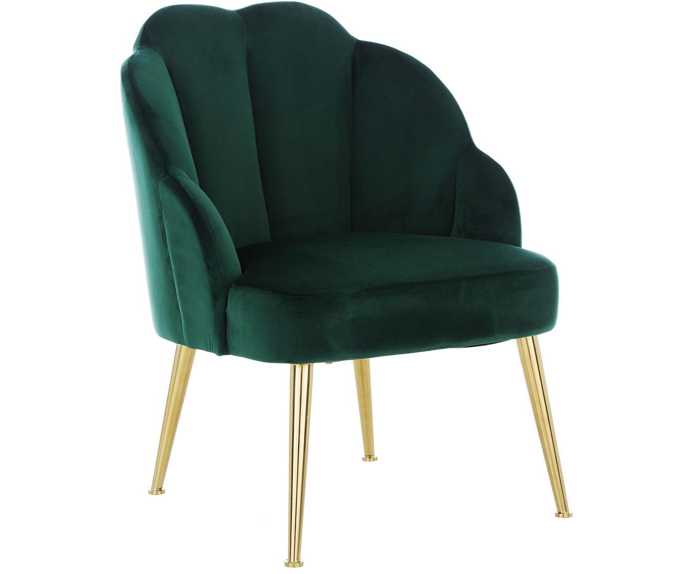 Fotel koktajlowy z aksamitu Helle, Tapicerka: aksamit (poliester) 30 00, Nogi: metal malowany proszkowo, Aksamitny ciemny zielony, S 65 x G 65 cm