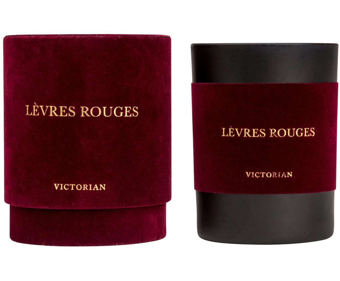 Duftkerze Levres Rouges (Moschus & Vanille), Behälter: Glas, beflockt, Schwarz, Rot, Ø 8 x H 10 cm