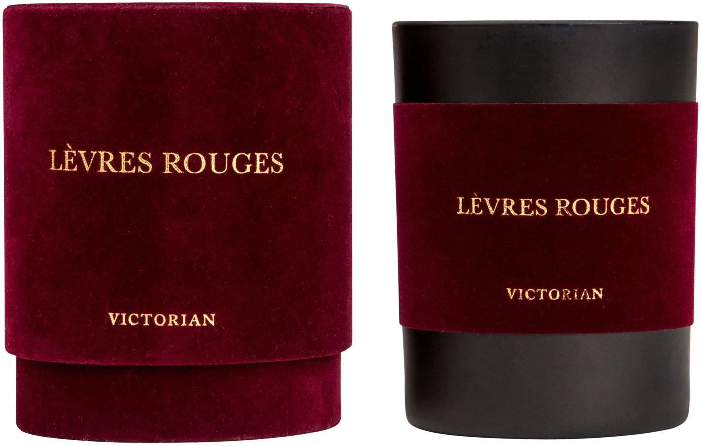 Vela perfumada Levres Rouges (almizcle y vainilla), Recipiente: vidrio, flocado, Negro, rojo, Ø 8 x Al 10 cm