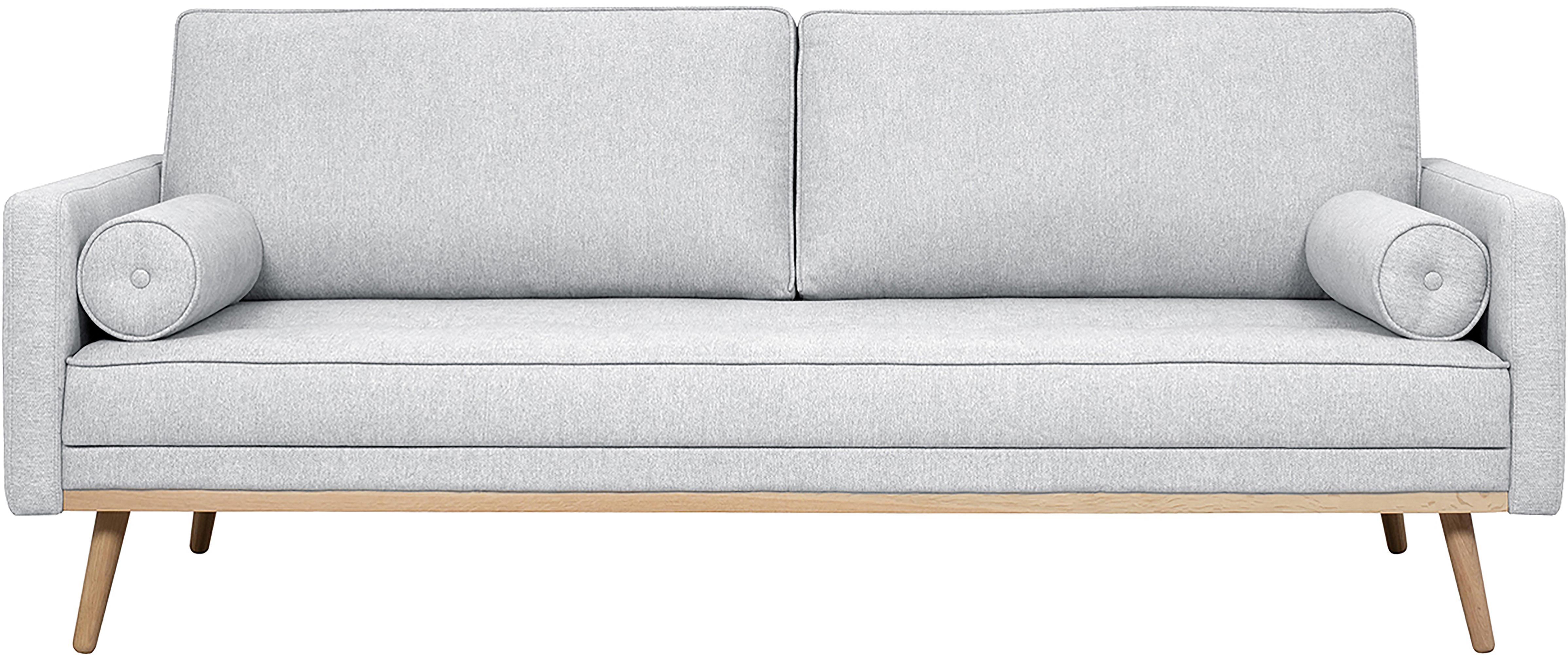 Bank Saint (3-zits), Bekleding: polyester, Frame: massief grenenhout, spaan, Lichtgrijs, 210 x 70 cm
