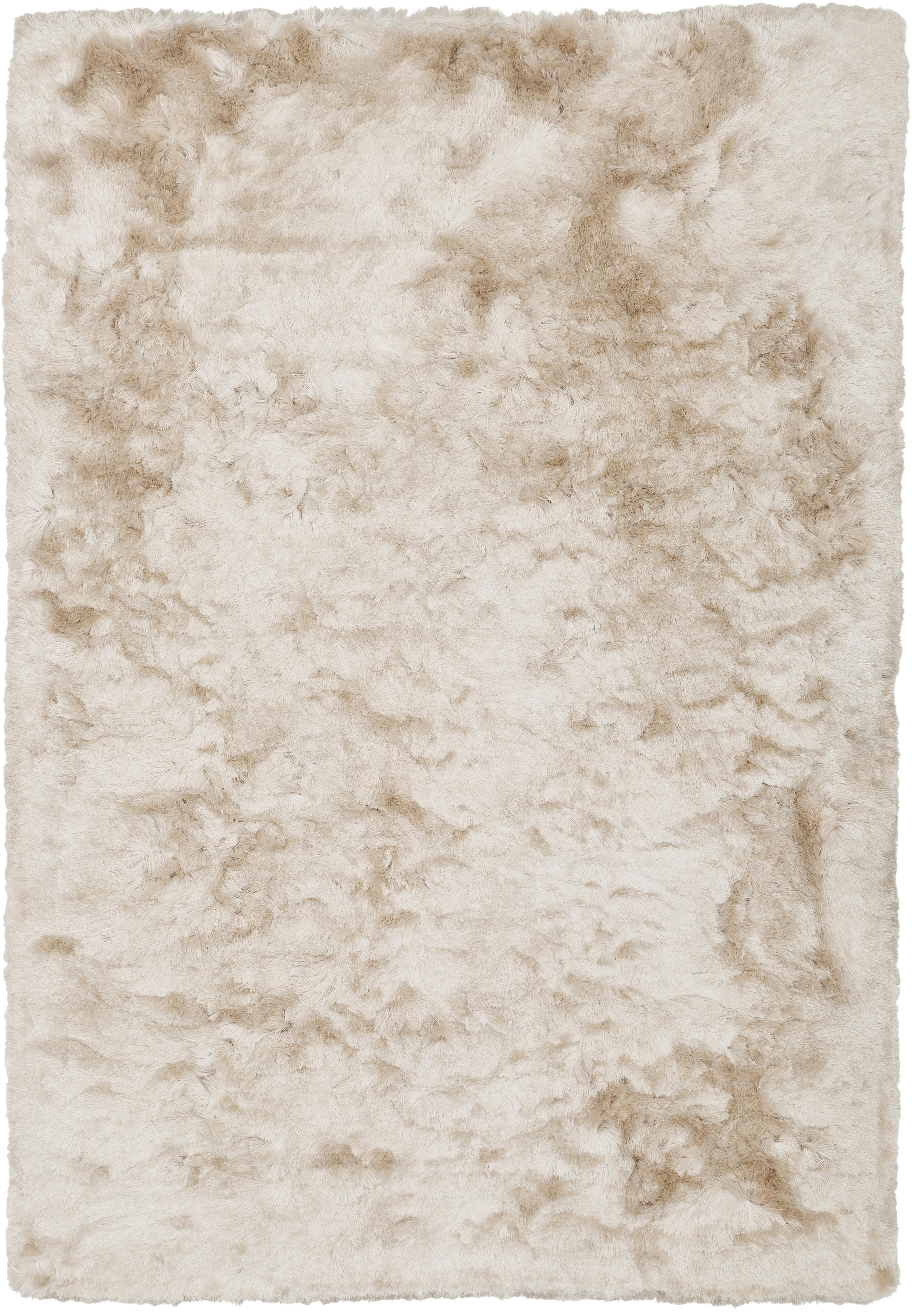 Glänzender Hochflor-Teppich Jimmy in Elfenbein, Flor: 100% Polyester, Elfenbeinfarben, B 120 x L 180 cm (Größe S)