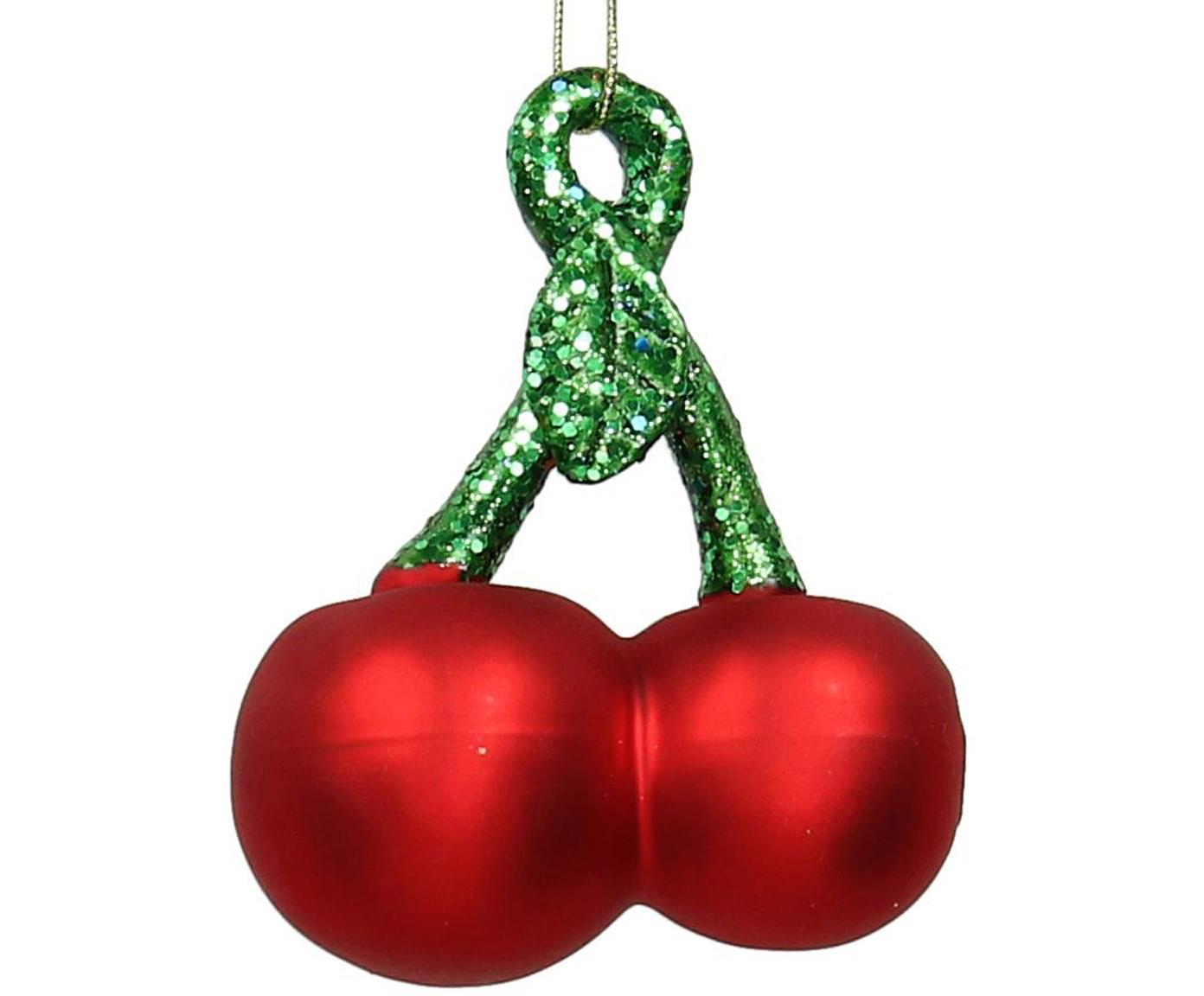 Baumanhänger Cherry, 2 Stück, Rot, Grün, 8 x 8 cm
