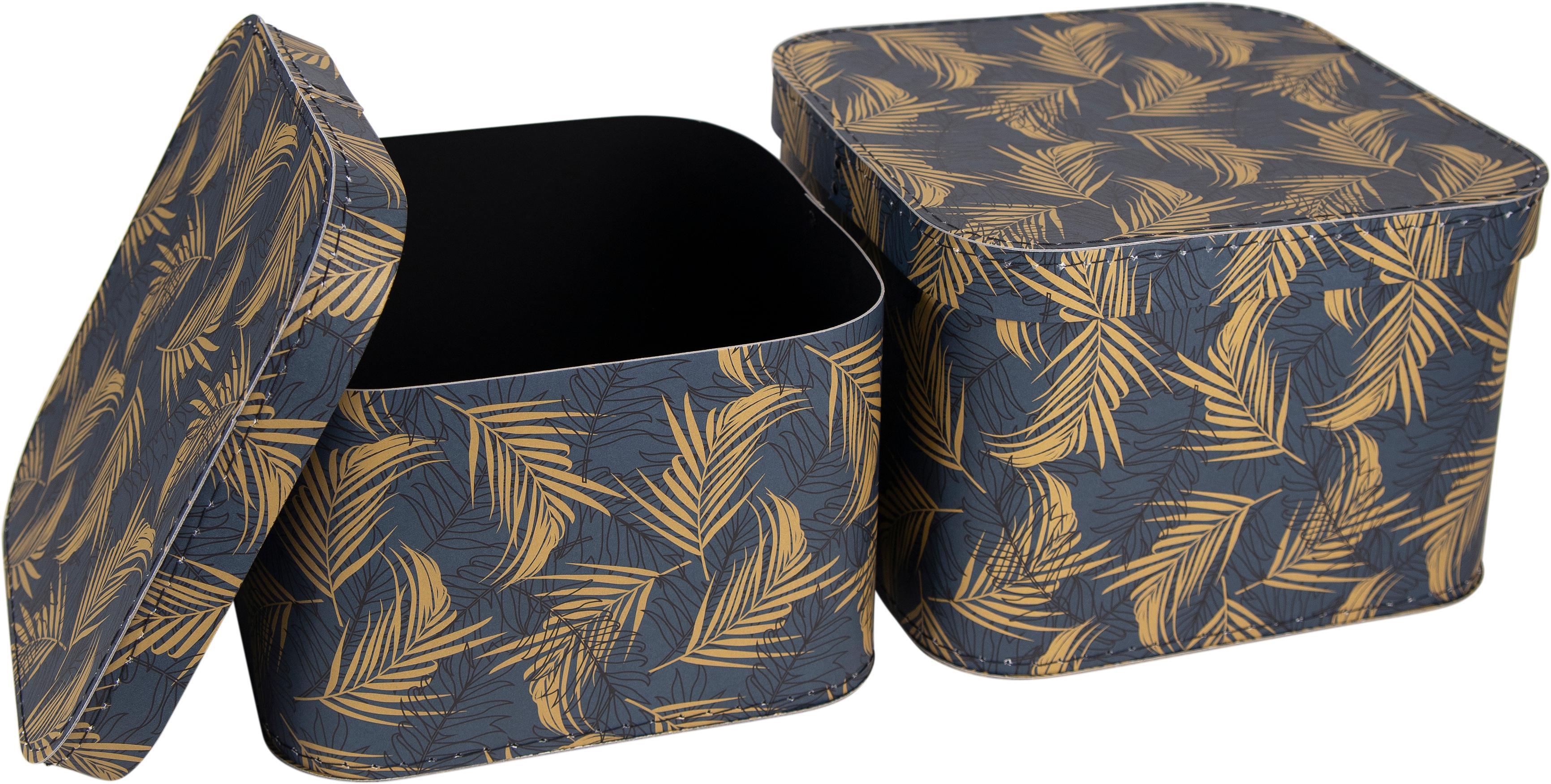 Opbergdozenset Ludvig, 2-delig, Stevig, gelamineerd karton, Goudkleurig, grijsblauw, Set met verschillende formaten