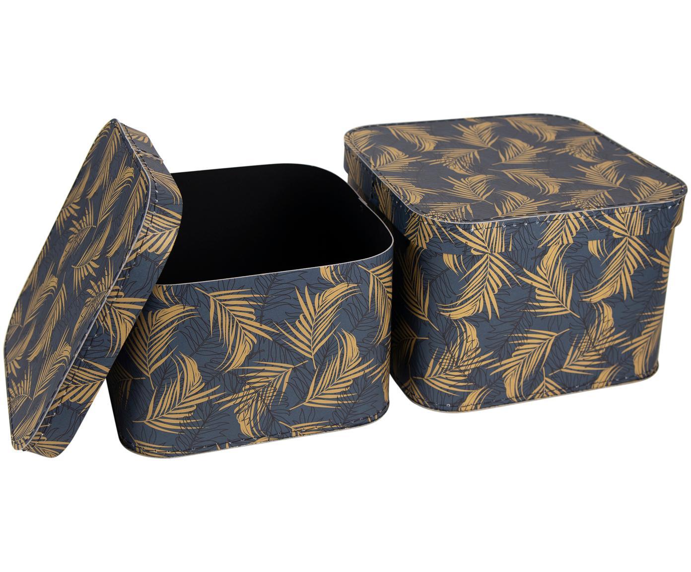 Opbergdozenset Ludvig, 2-delig, Stevig, gelamineerd karton, Goudkleurig, grijsblauw, Verschillende formaten