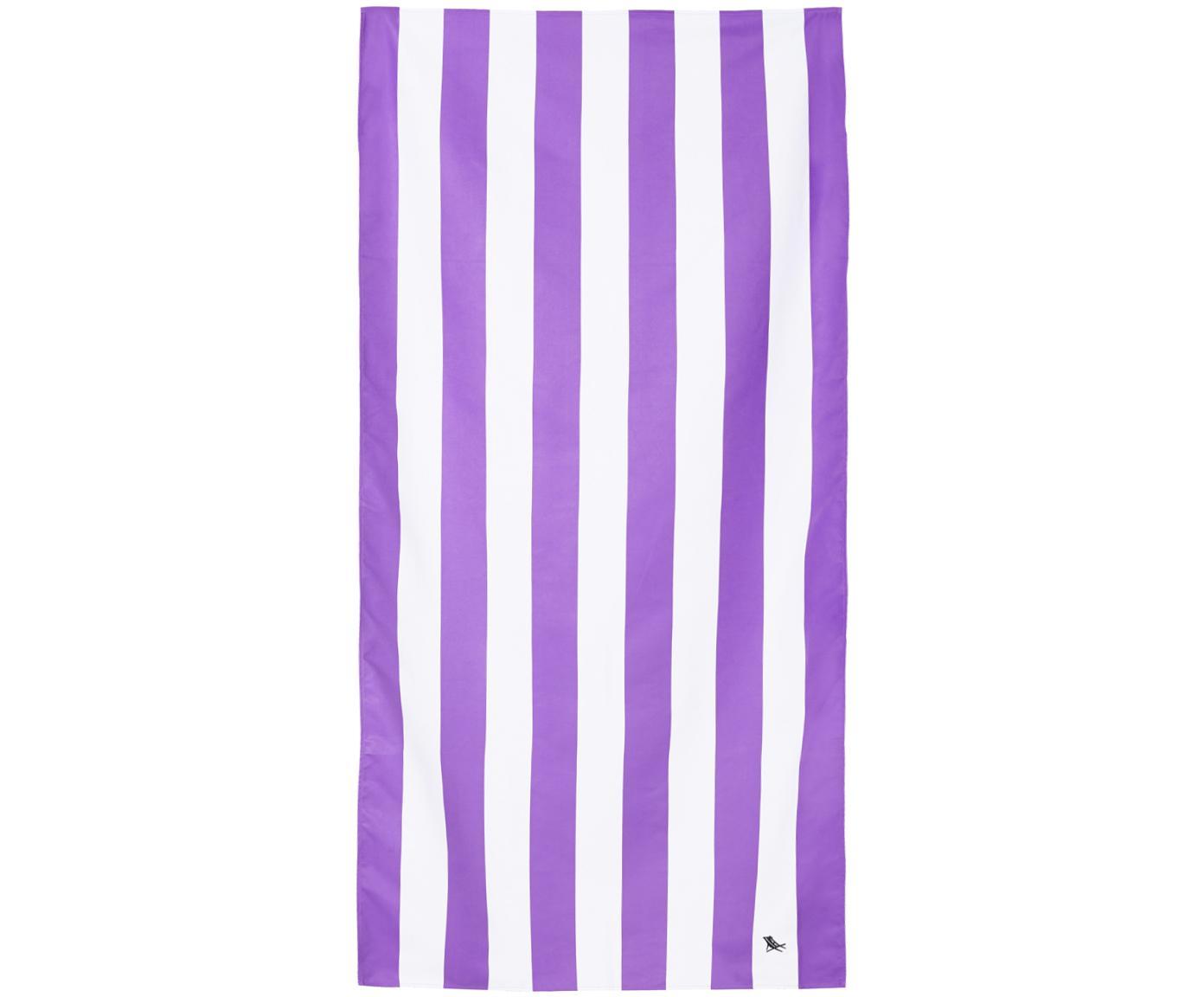 Szybkoschnący ręcznik plażowy z mikrofibry Cabana, Mikrofibra (80% poliester, 20% poliamid), Lila, biały, S 90 x D 200 cm