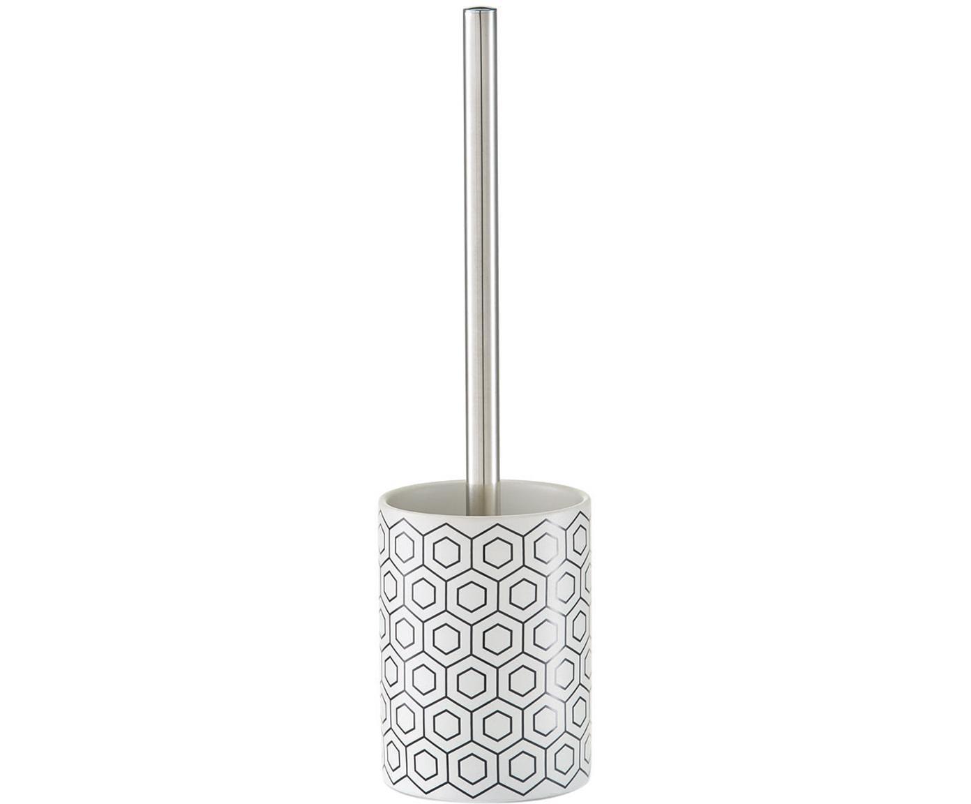 Toiletborstel Graphic met keramische houder, Houder: keramiek, Zwart, wit, Ø 10 x H 35 cm