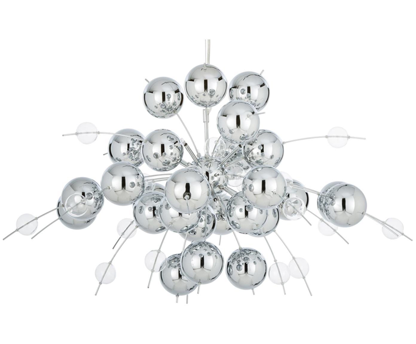 Lampada a sospensione in cromo Explosion, Metallo cromato trasparente, Ø 98 cm