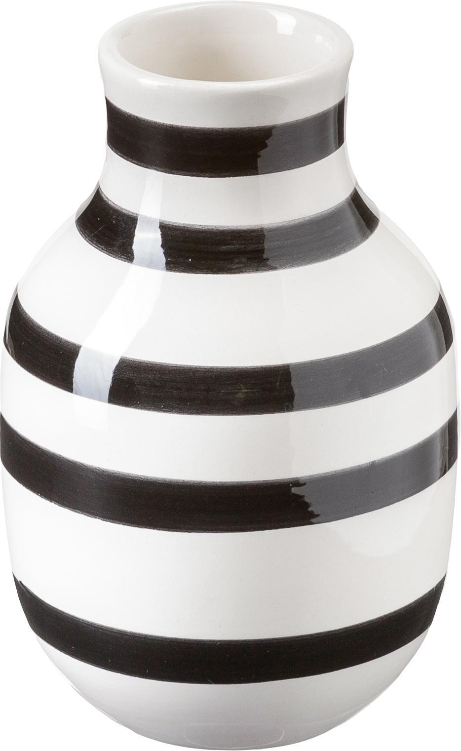 Jarrón artesanal de diseño Omaggio, grande, Cerámica, Negro, blanco, Ø 8 x Al 13 cm