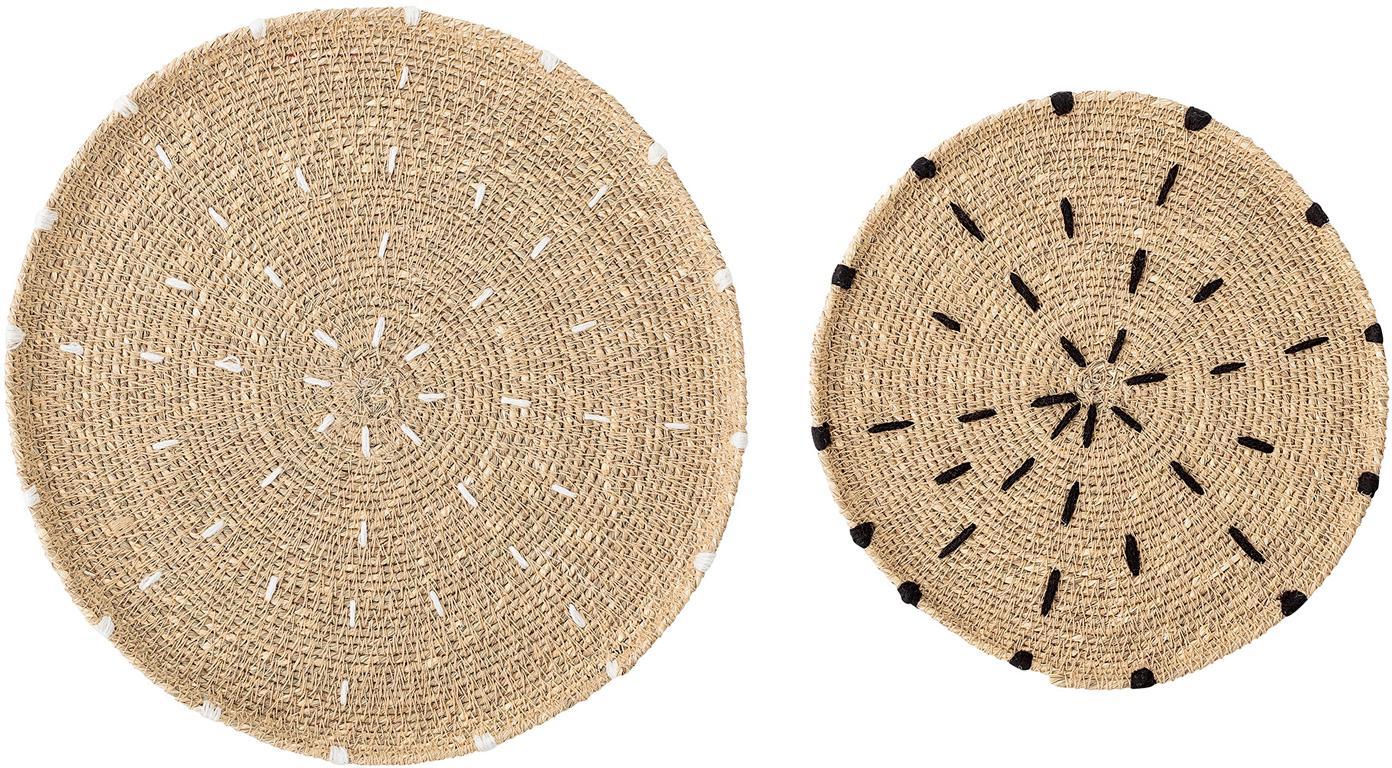 Set 2 tovagliette americane rotonde Deco, Alghe, Beige, bianco, nero, Set in varie misure