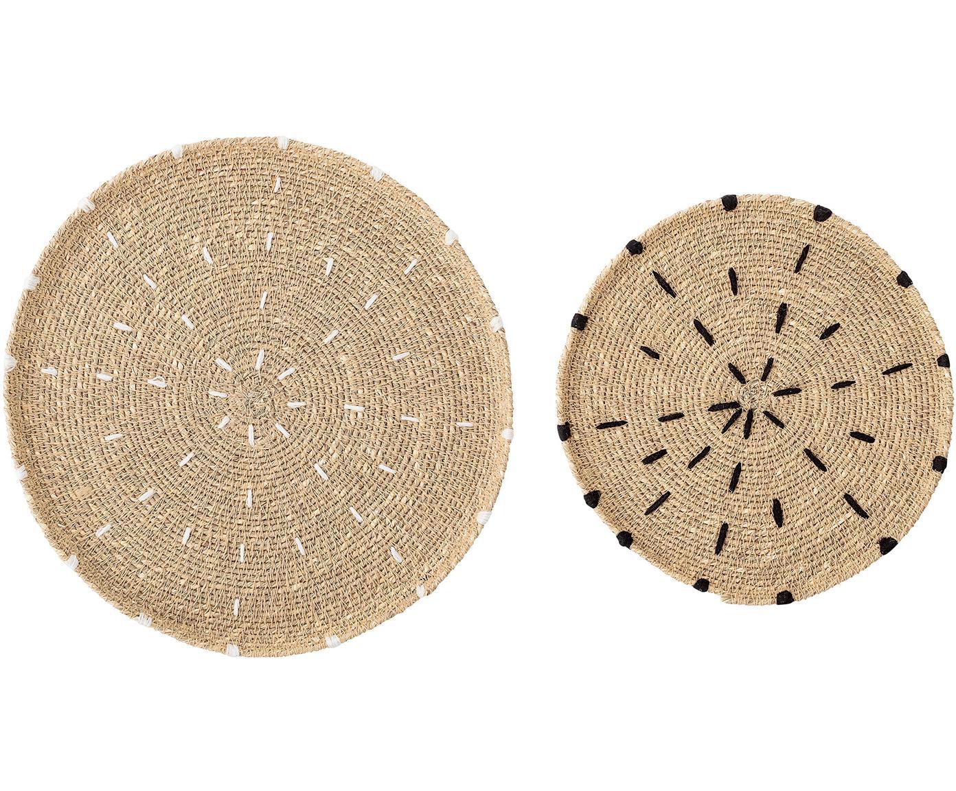 Set van 2 ronde placemats van zeegras Deco, Zeegras, Beige, wit, zwart, Verschillende formaten