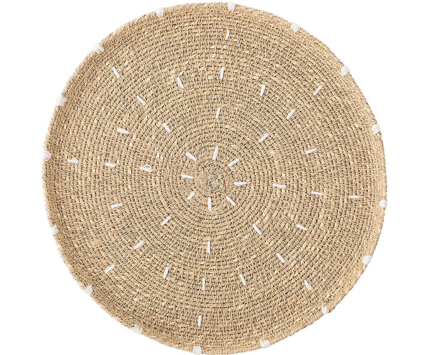 Runde Seegras-Tischsets Deco, 2er Set, Seegras, Beige, Weiß, Schwarz, Sondergrößen