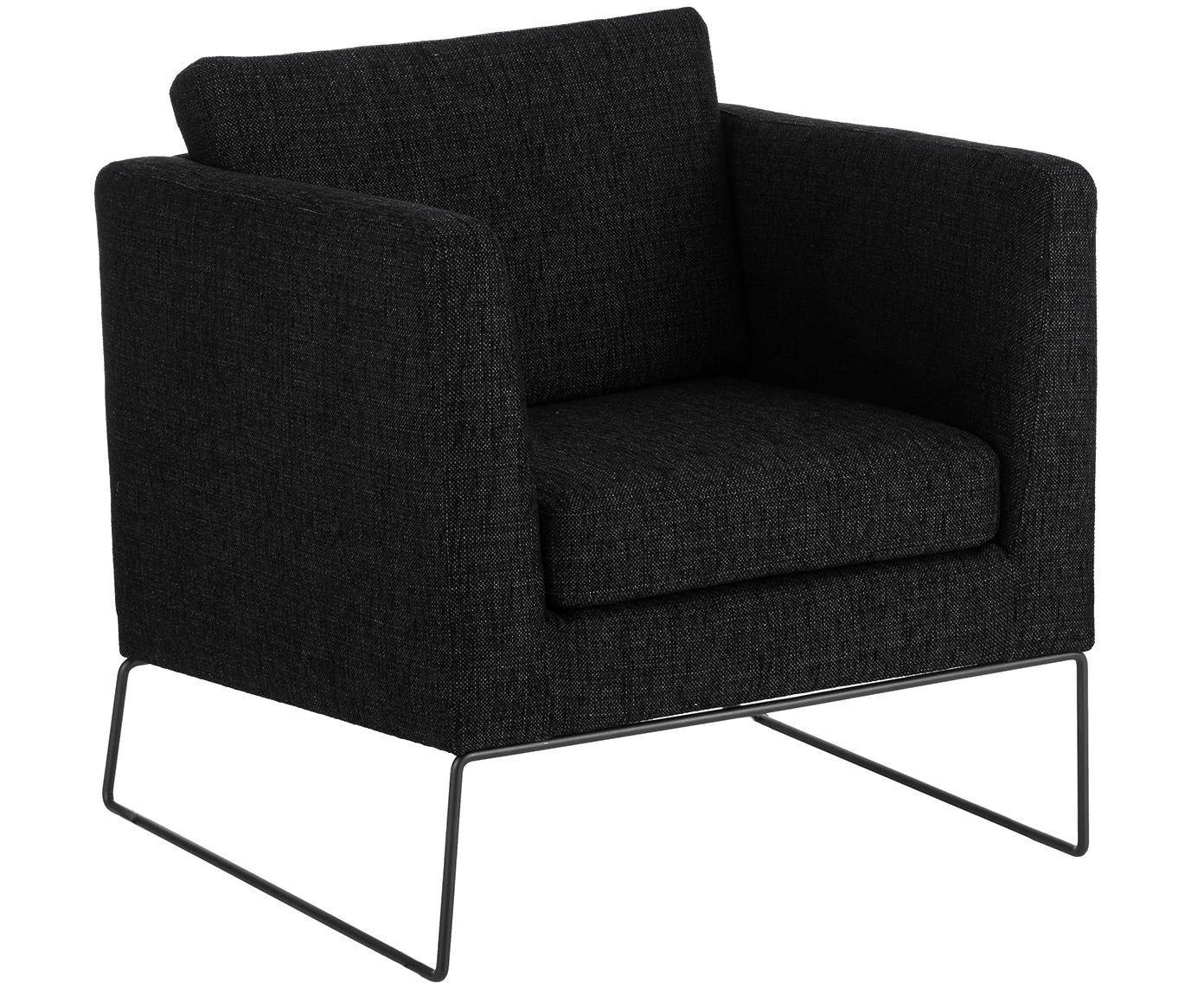 Klassischer Sessel Milo in Schwarz, Bezug: Hochwertiger Polyesterbez, Gestell: Kiefernholz, Beine: Metall, lackiert, Webstoff Schwarz, 77 x 75 cm