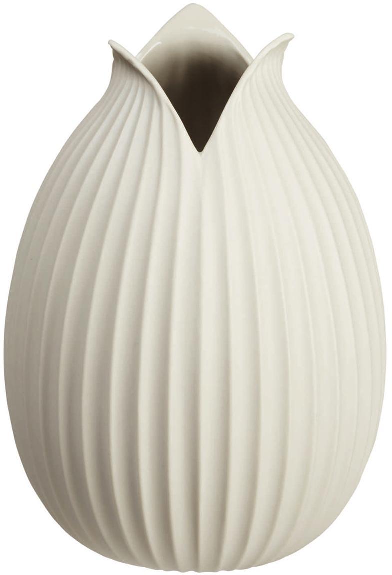 Vaso in porcellana fatto a mano Yoko, Porcellana, Beige, Ø 15 x Alt. 22 cm