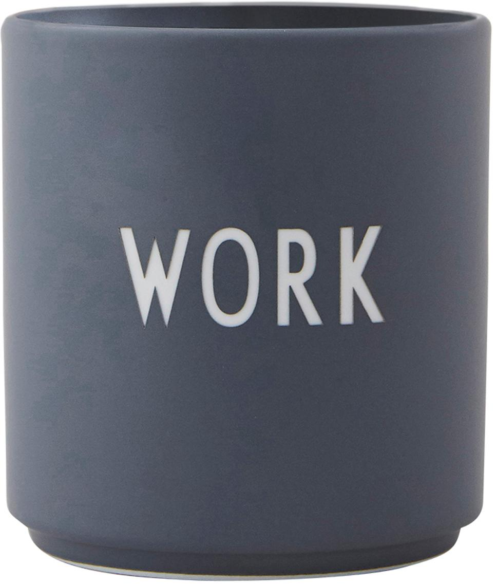 Design Becher Favourite WORK in Dunkelgrau mit Schriftzug, Fine Bone China (Porzellan), Grau, Weiss, Ø 8 x H 9 cm