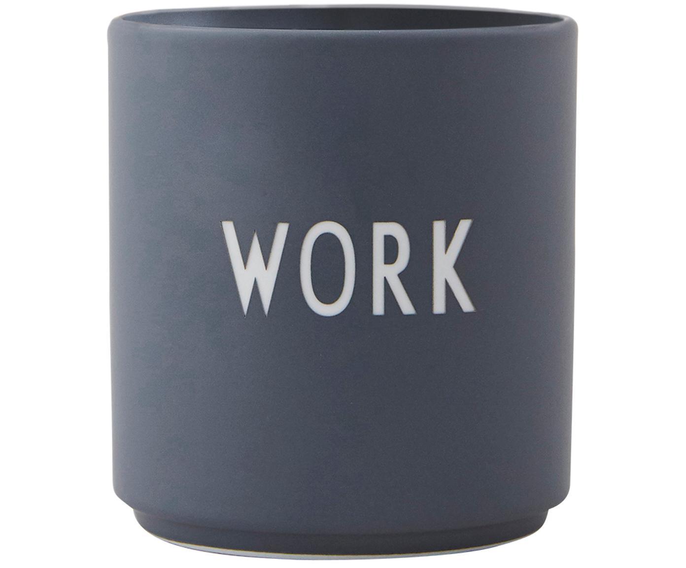 Design Becher Favourite WORK in Dunkelgrau mit Schriftzug, Fine Bone China (Porzellan), Grau, Weiß, Ø 8 x H 9 cm
