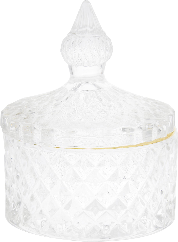 Opbergpot Freser, Rand: gecoat metaal, Goudkleurig, transparant, Ø 9 x H 10 cm