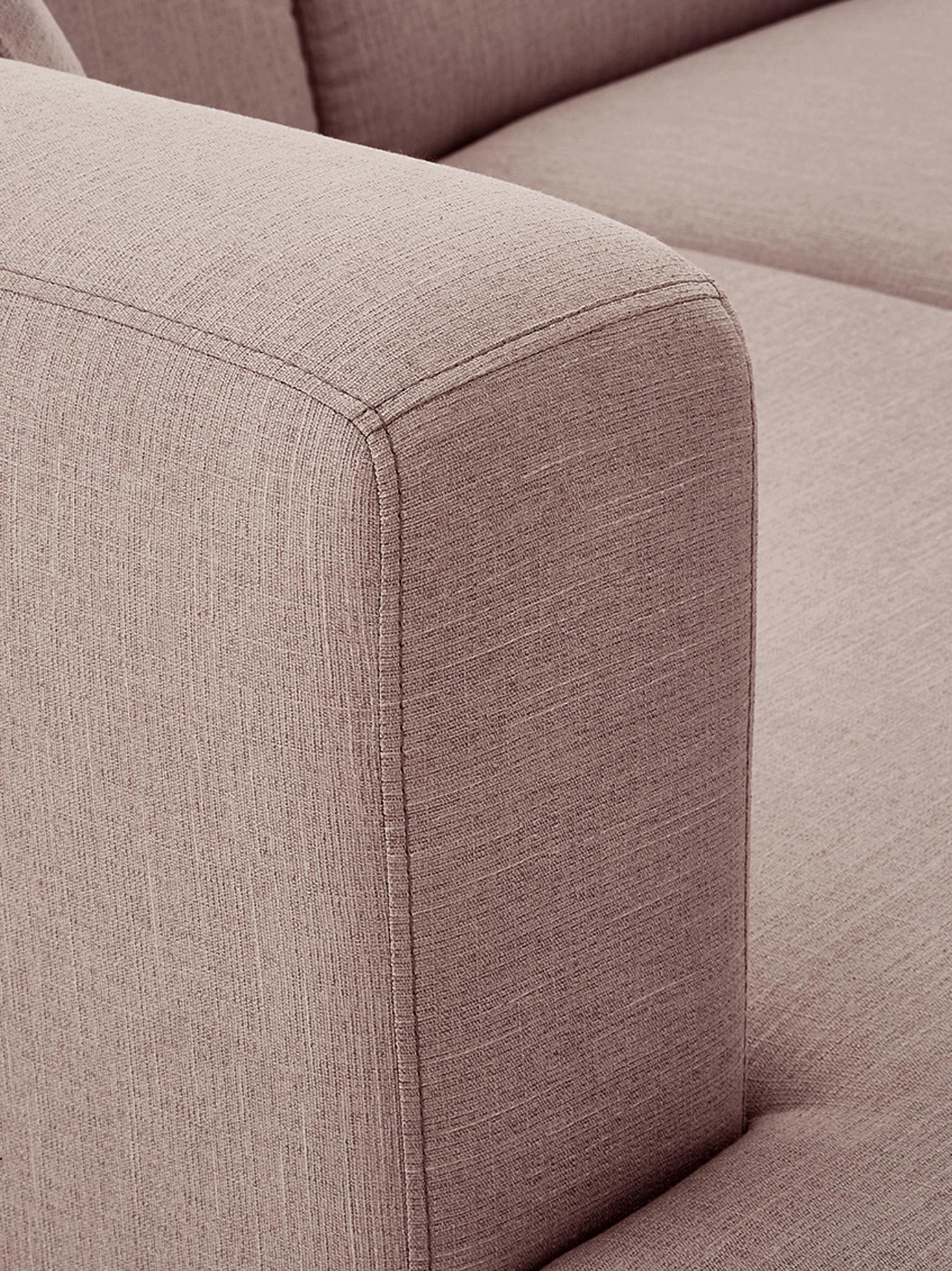 Ecksofa Carrie, Bezug: Polyester 50.000 Scheuert, Gestell: Spanholz, Hartfaserplatte, Füße: Metall, lackiert, Webstoff Altrosa, B 222 x T 180 cm