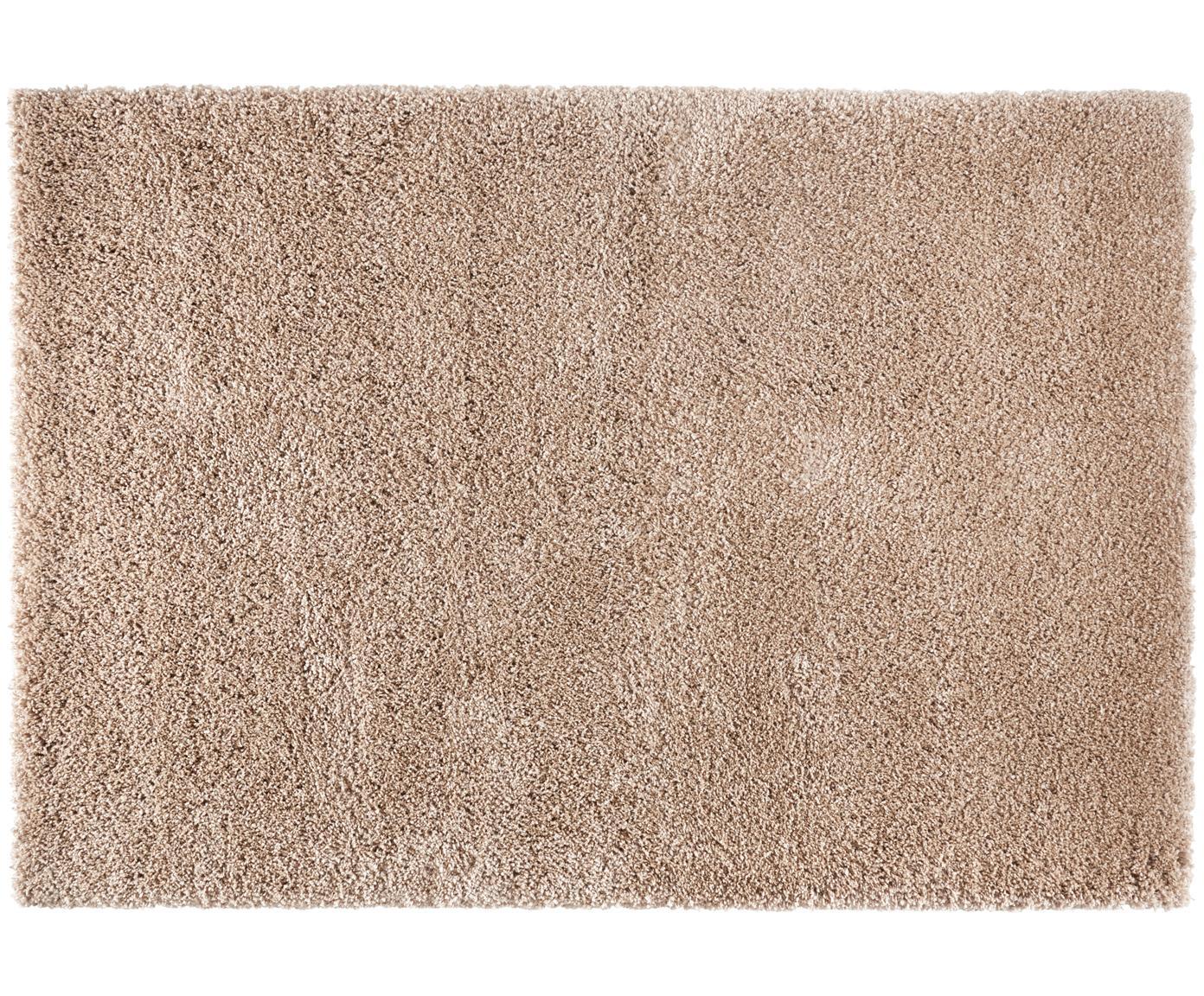 Pluizig hoogpolig vloerkleed Venice in bruin, Bovenzijde: 100% polypropyleen, Onderzijde: jute, Bruin, B 80 x L 150 cm (maat XS)