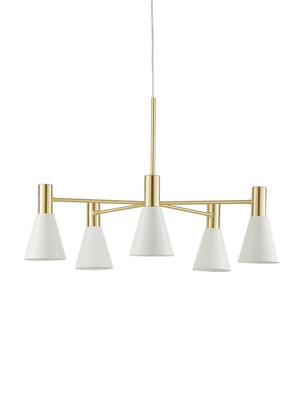 Pendelleuchte Sia, Lampenschirme:Weiß, mattBaldachin und Lampengestell:Messing, gebürstet, Ø 75 cm