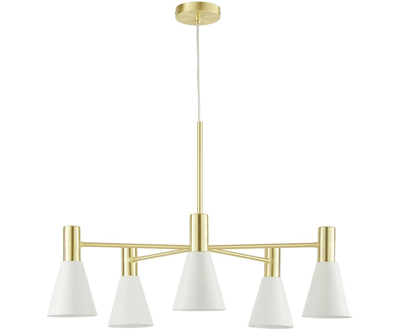 Lampa wisząca Sia, Klosz: biały, matowy Osłona mocowania sufitowego i stelaż lampy: mosiądz szczotk, Ø 75 cm