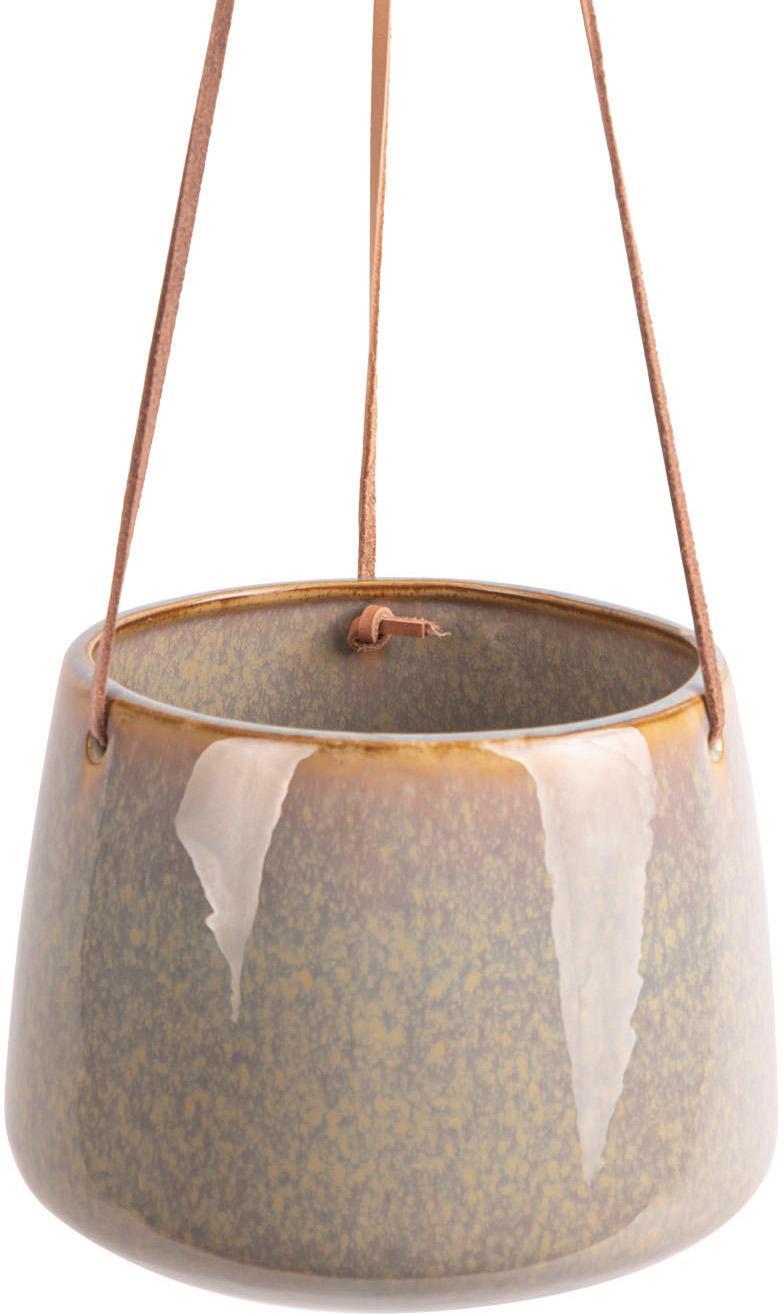 Wisząca osłonka na doniczkę  Unique, Ceramika, Jasny szary, Ø 17 x W 13 cm