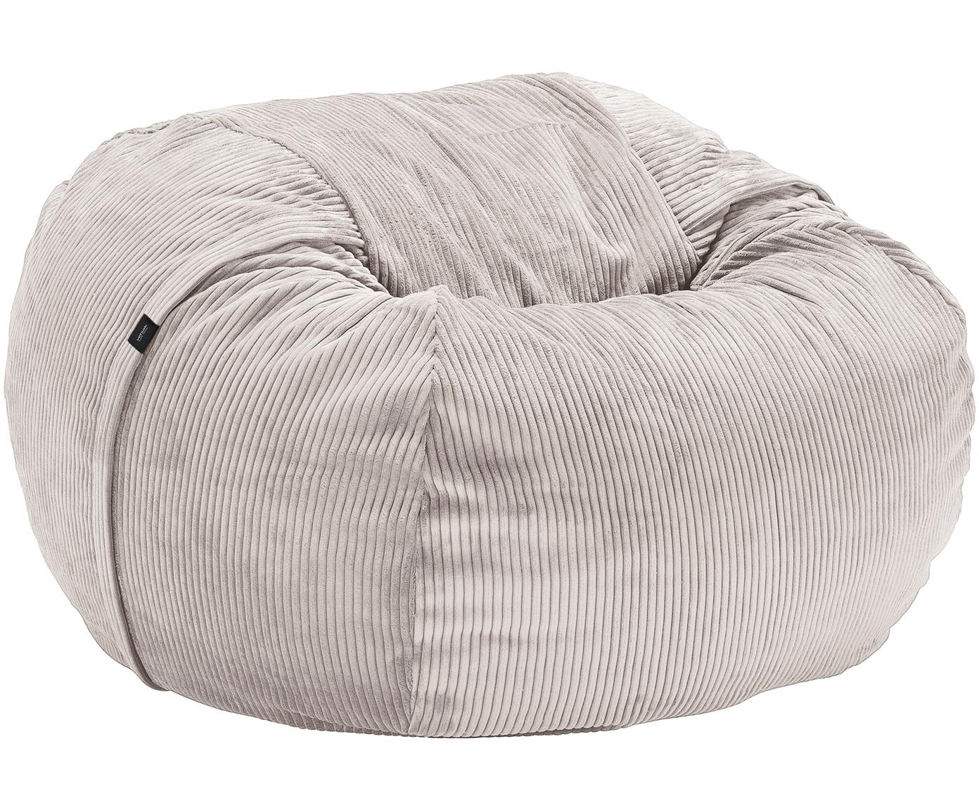 Pouf sacco in velluto a coste Velours, Rivestimento: 88% nylon, 12% poliestere, Platino, Ø 110 x Alt. 70 cm