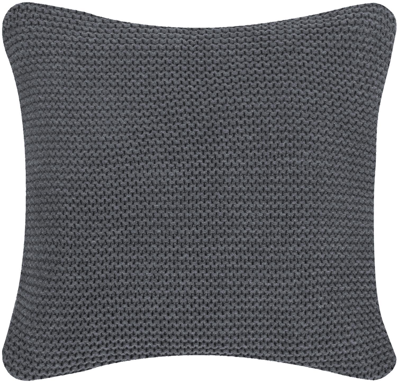 Funda de cojín de punto Adalyn, Algodón, Gris oscuro, An 40 x L 40 cm