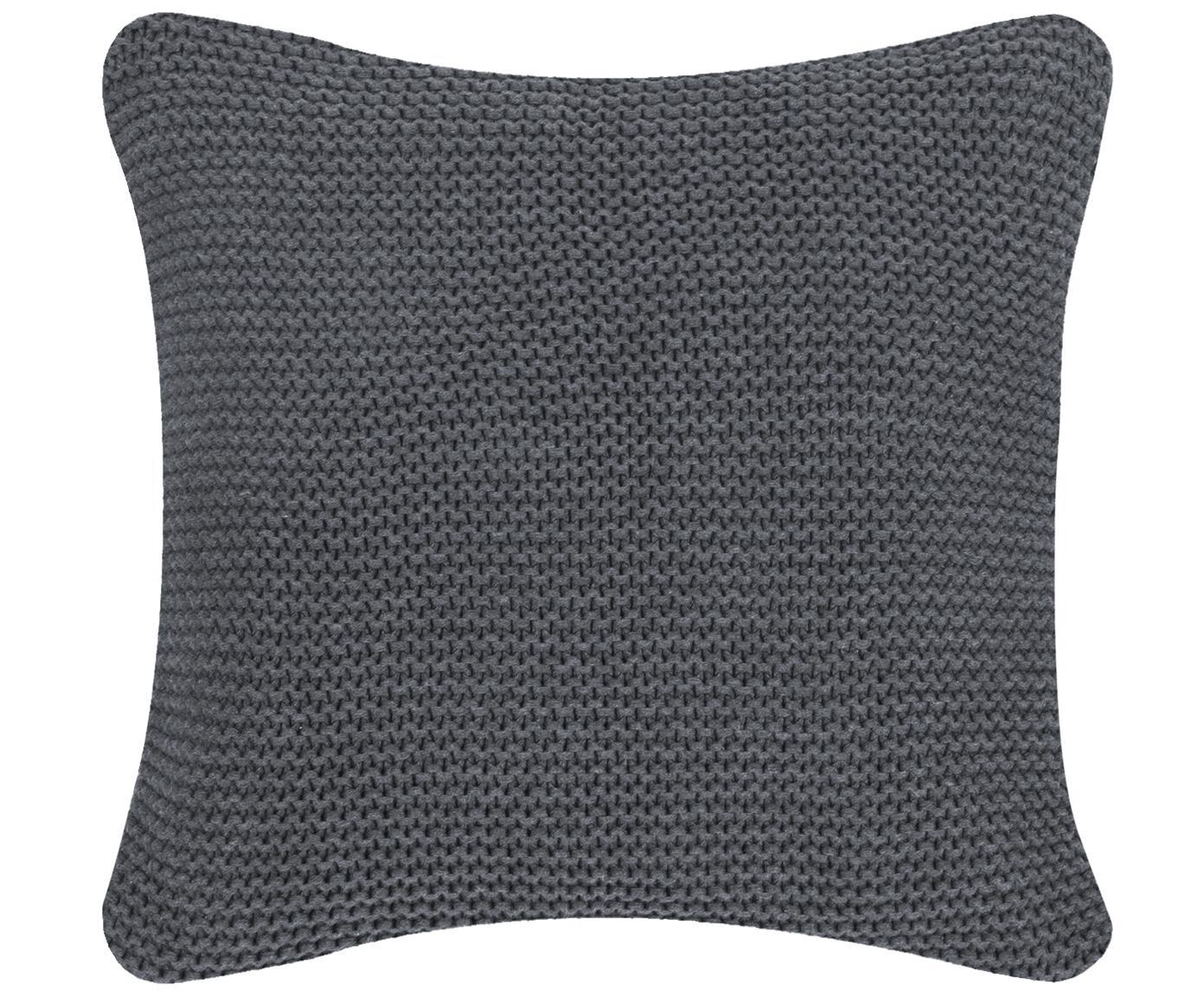Poszewka na poduszkę z dzianiny Adalyn, 100% bawełna, Ciemnyszary, S 40 x D 40 cm