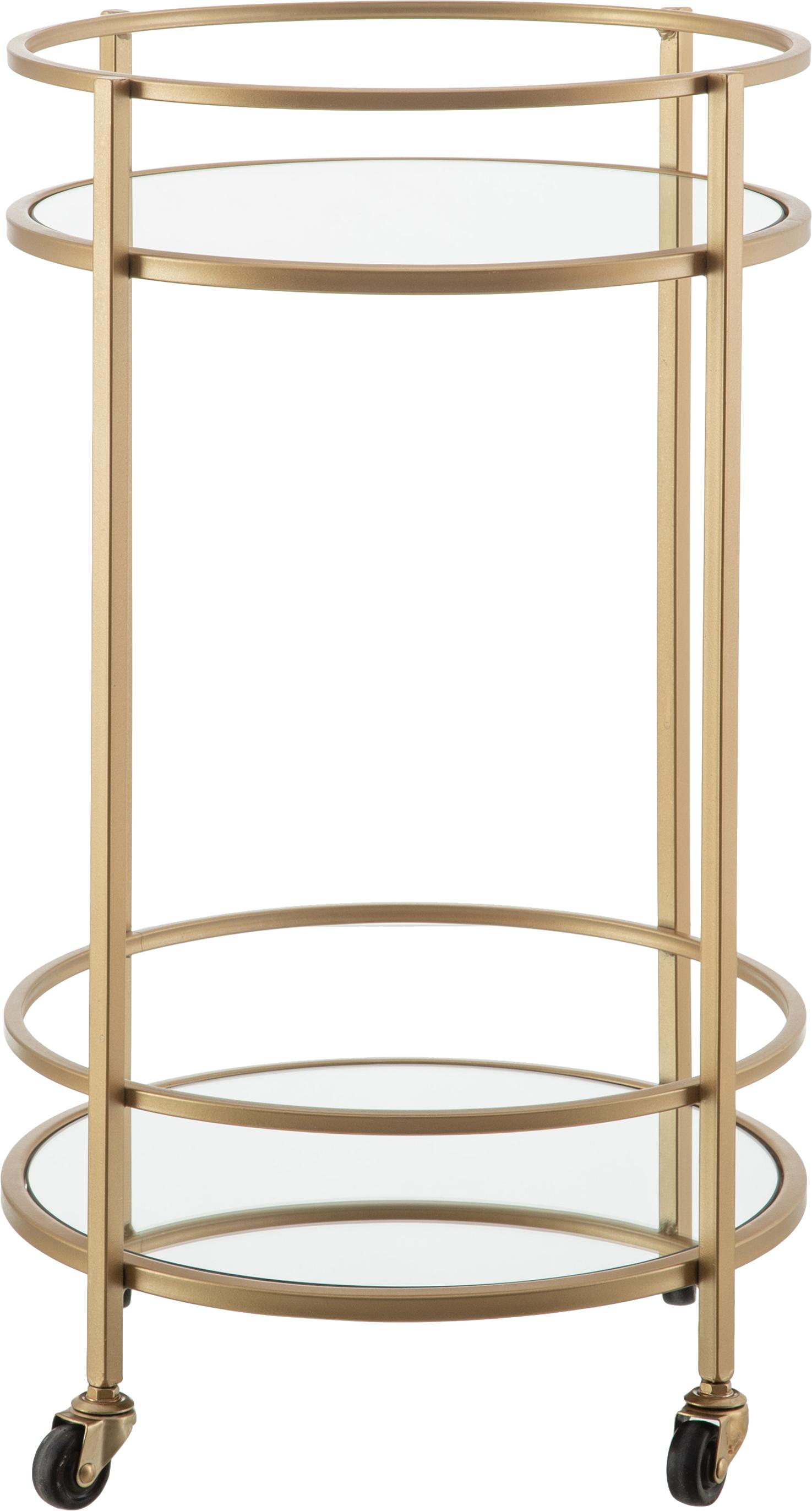 Ronde barcart Camarera goudkleurig, Gelakt metaal Spiegelglas, Messingkleurig, Ø 43 x H 70 cm