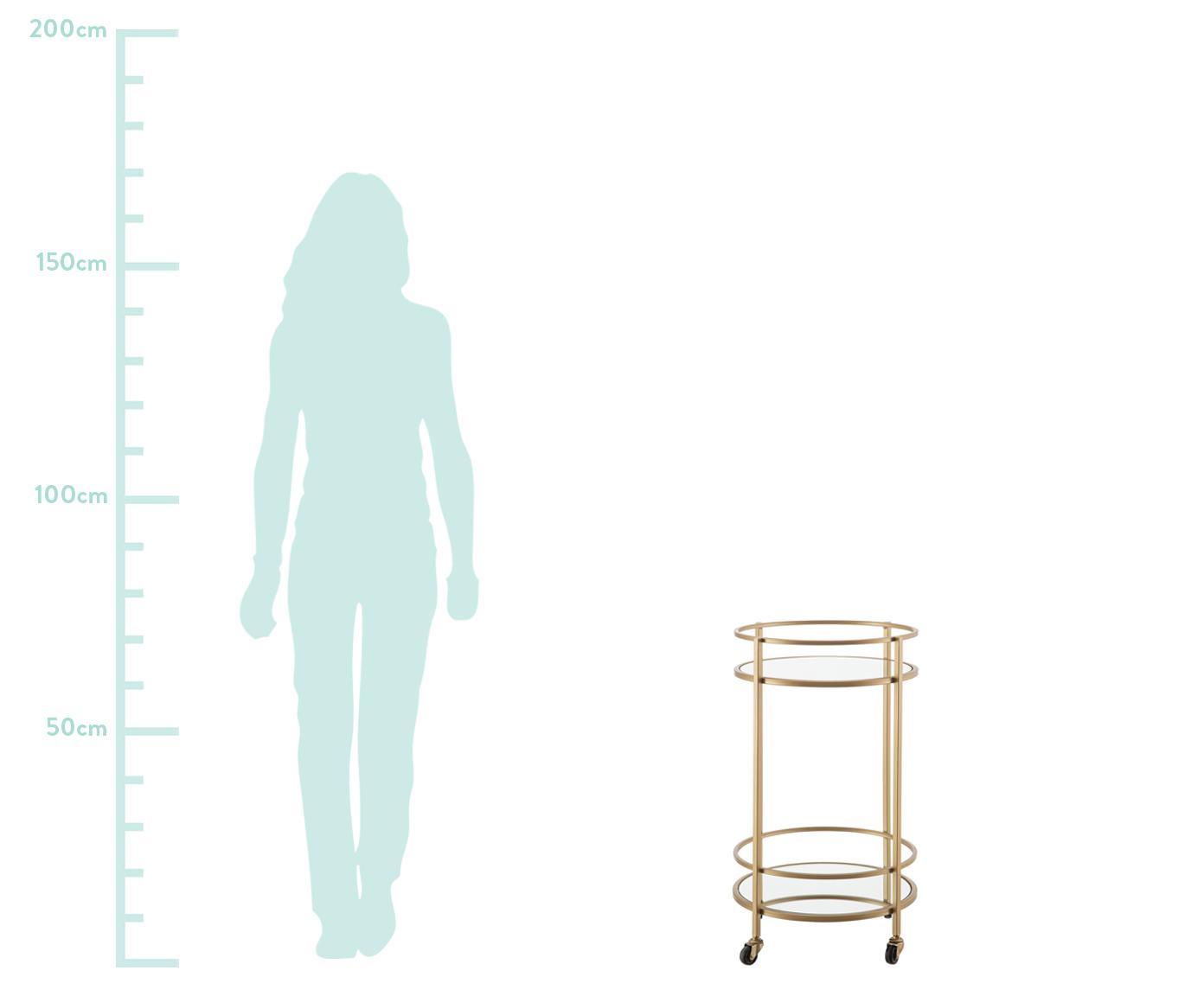 Carrello di servizio rotondo Camarera, Struttura: metallo laccato, Ripiani: vetro a specchio, Ottonato, Ø 43 x Alt. 70 cm
