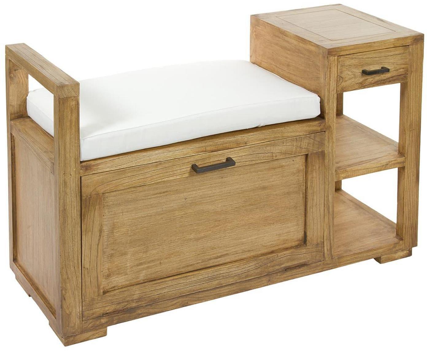 Banco y mesa auxiliar Dian, con espacio de almacenamiento, Madera de mindi maciza, Estructura: marrón Cojín: blanco, An 100 x Al 63 cm
