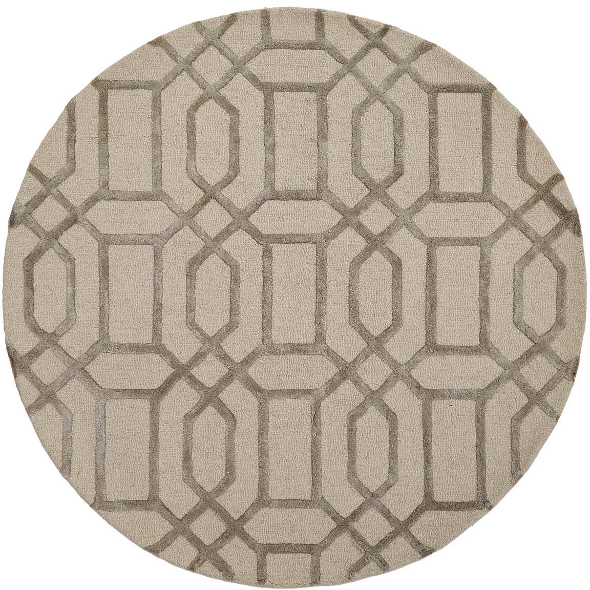 Runder Wollteppich Vegas mit Hoch-Tief-Effekt, Flor: 80% Wolle, 20% Viskose, Beige, Creme, Ø 150 cm (Größe M)