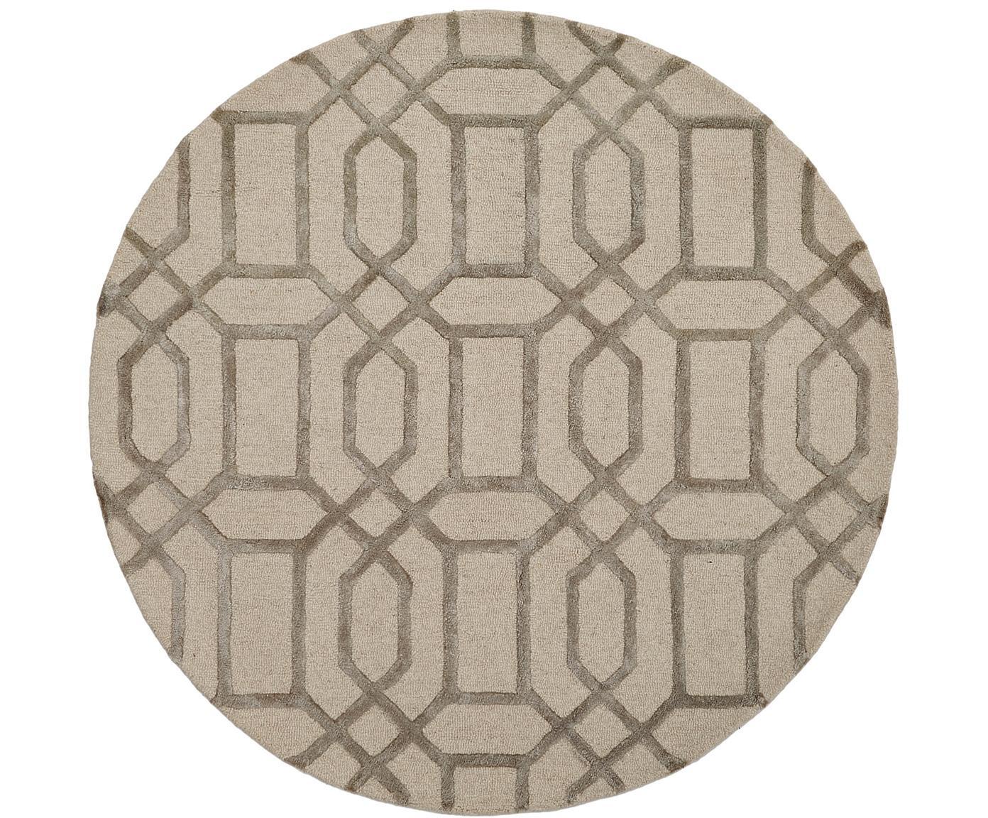 Tappeto rotondo in lana con motivo a rilievo Vegas, Retro: cotone, Beige, crema, Ø 150 cm (taglia M)