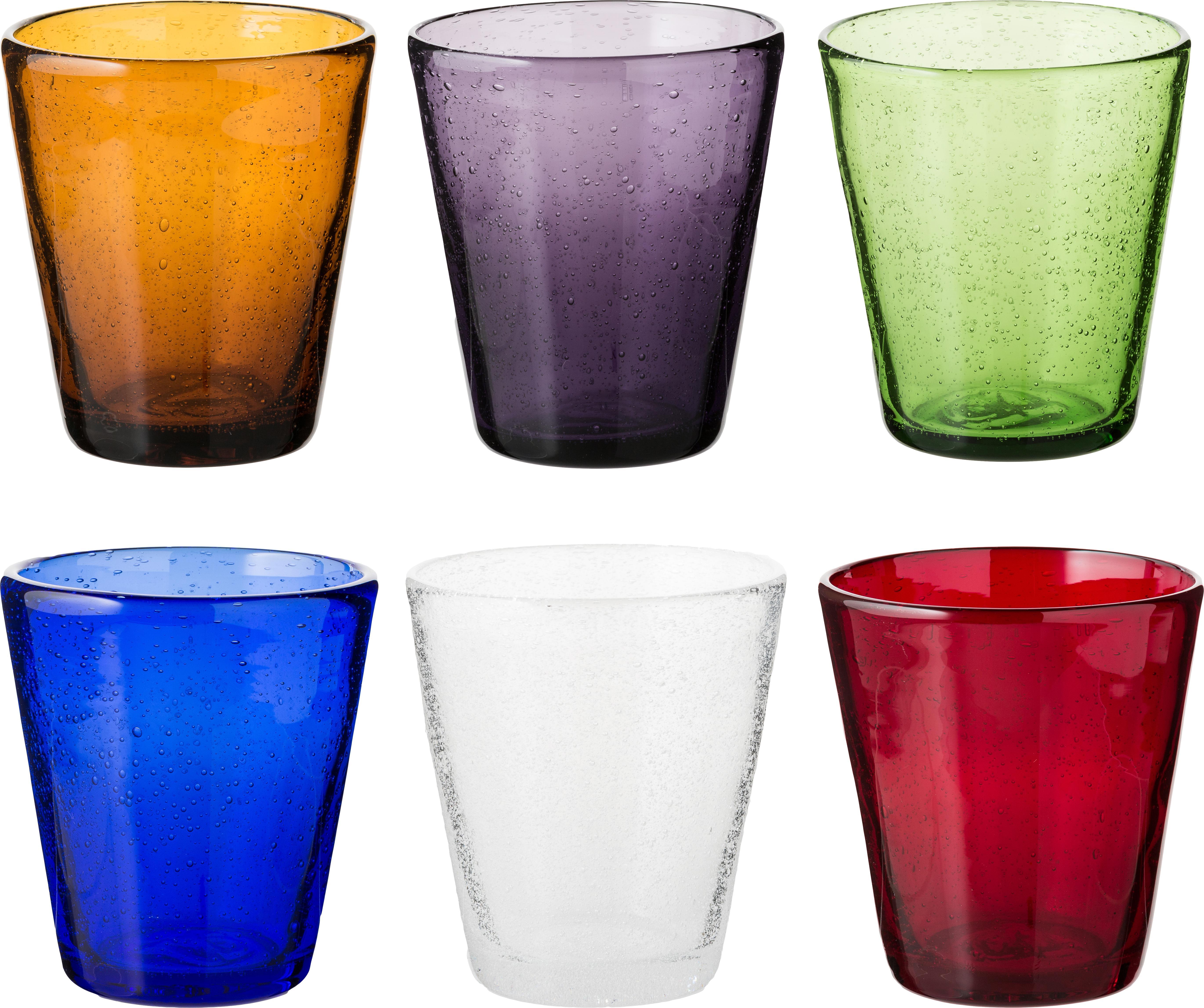 Vasos de vidrio soplado Cancún, 6uds., Vidrio soplado, Multicolor, Ø 9 x Al 10 cm