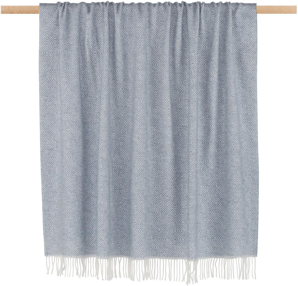 Woll-Plaid Alison mit feinem grafischem Muster, 70% Merinowolle, 30% Polyester, Graublau, Gebrochenes Weiss, 140 x 200 cm