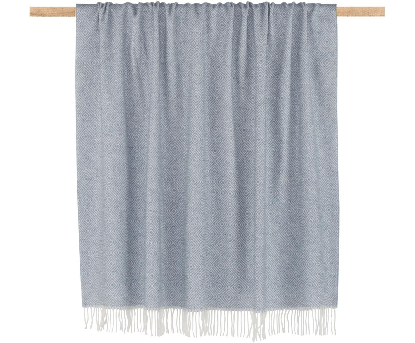 Woll-Plaid Alison mit feinem grafischem Muster, 80% Wolle, 20% Acryl, Graublau, Gebrochenes Weiß, 140 x 200 cm