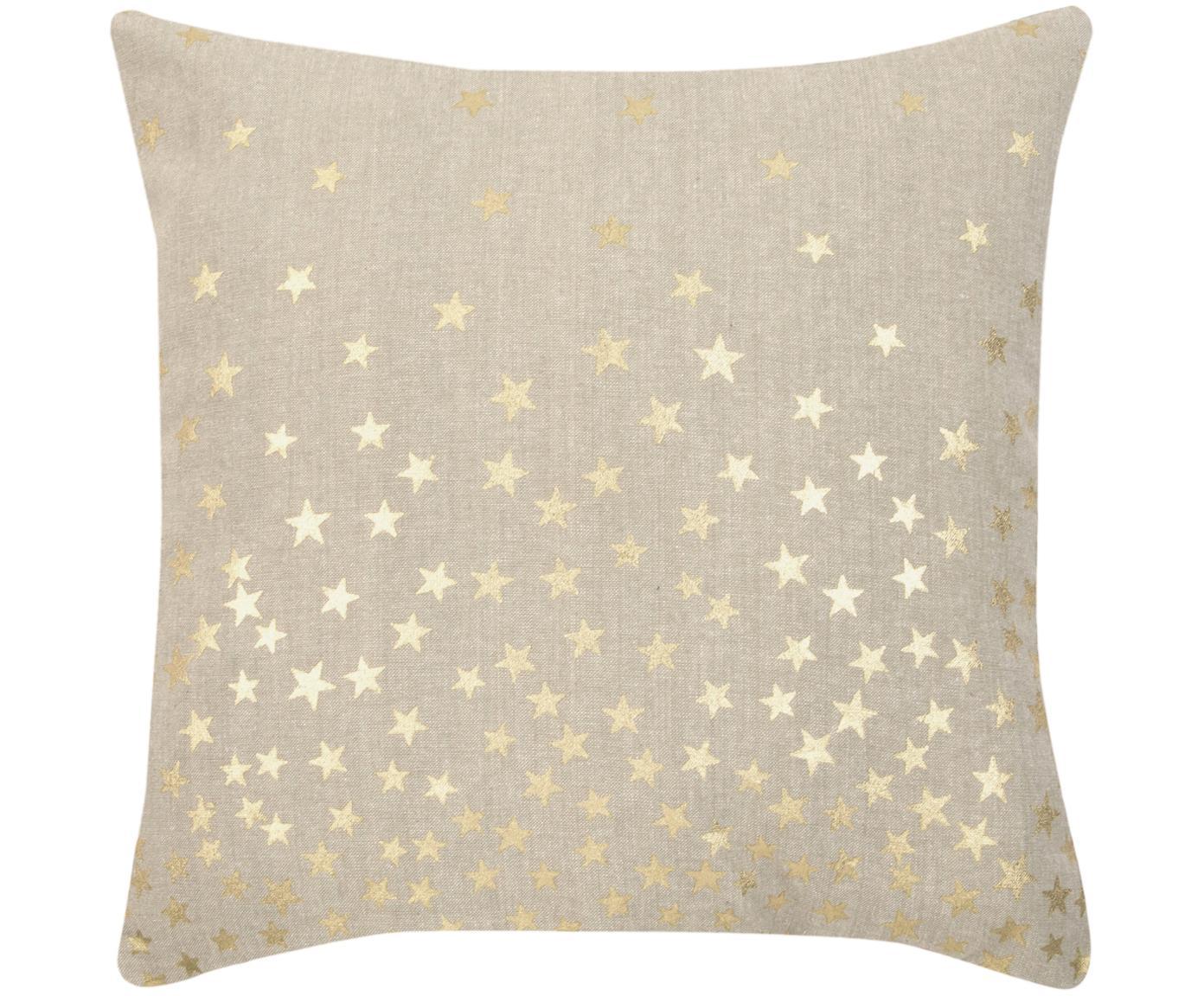 Kissenhülle Kiley mit goldenen Sternen, Baumwolle, Beige, Goldfarben, 45 x 45 cm
