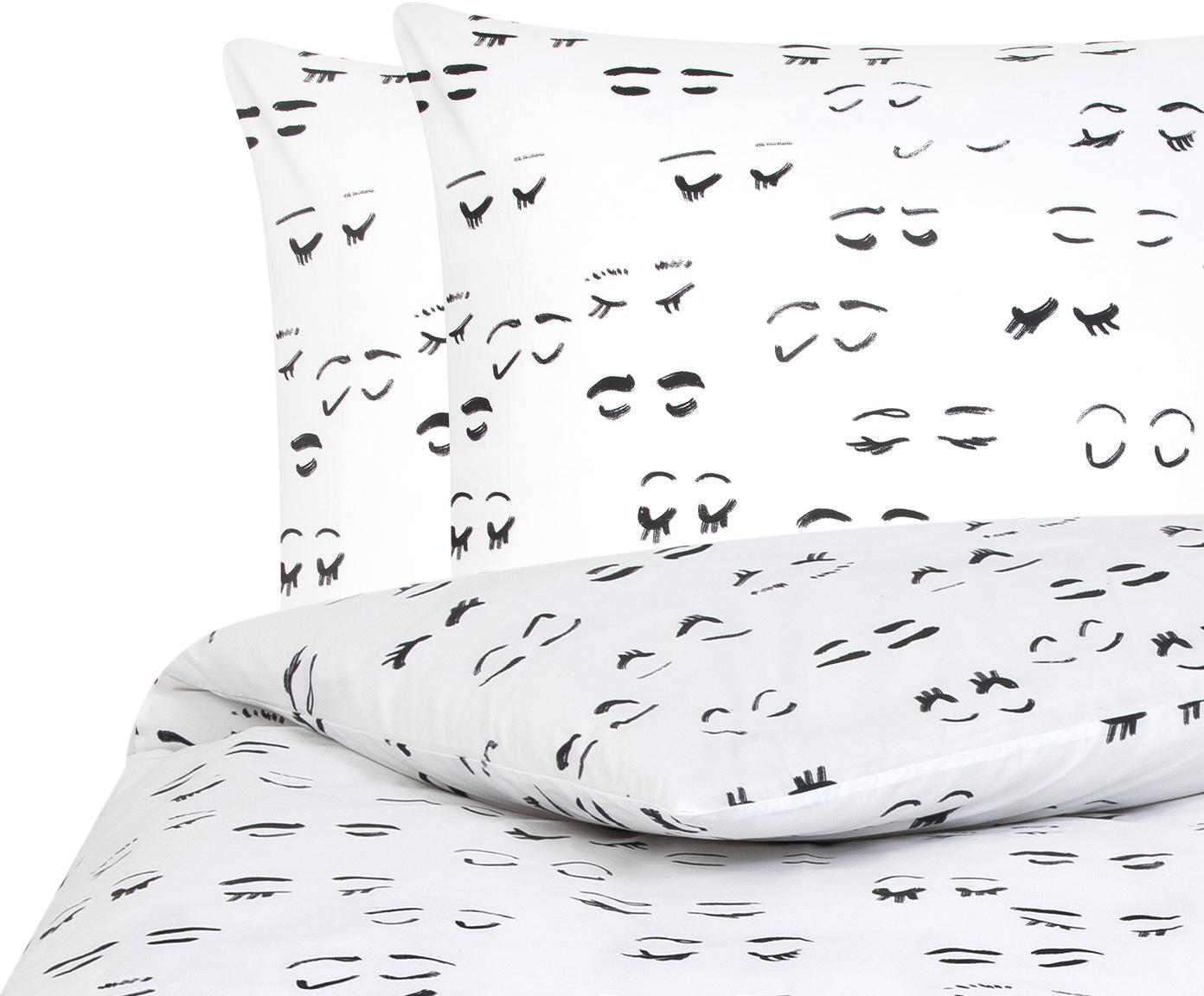 Designer Baumwollperkal-Bettwäsche Lashes von Kera Till, Webart: Perkal, Weiß, Schwarz, 240 x 220 cm + 2 Kissen 80 x 80 cm